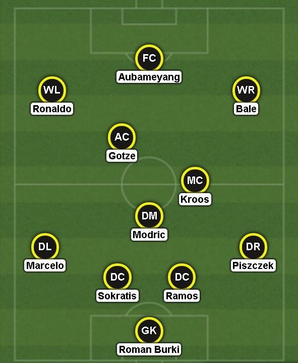 Aubameyang dan dau sieu doi hinh ket hop Dortmund - Real hinh anh 1
