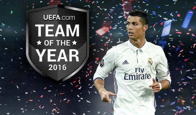 Ronaldo lan thu 11 gop mat o doi hinh tieu bieu UEFA hinh anh