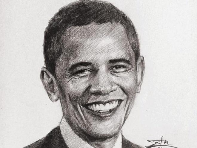 Tranh chan dung ong Obama xuat hien khap dien dan mang hinh anh