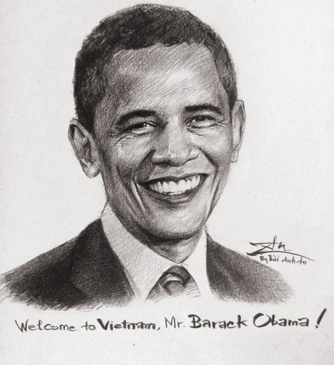 Tranh chan dung ong Obama xuat hien khap dien dan mang hinh anh 1