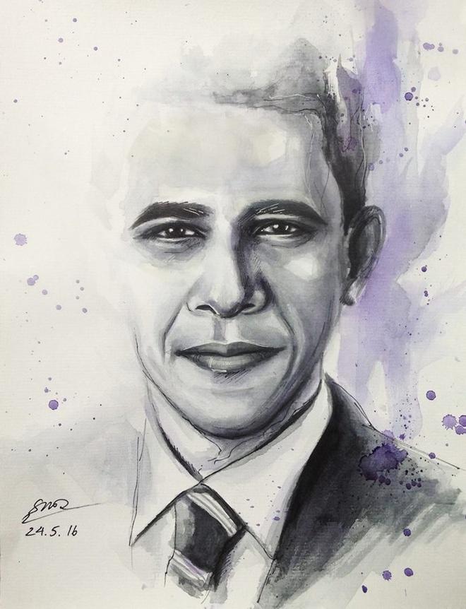 Tranh chan dung ong Obama xuat hien khap dien dan mang hinh anh 8