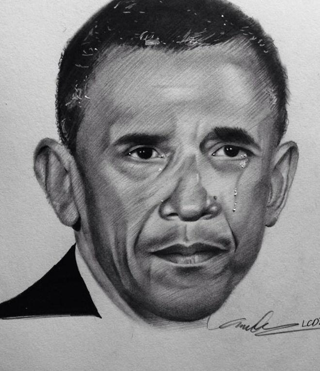 Tranh chan dung ong Obama xuat hien khap dien dan mang hinh anh 3