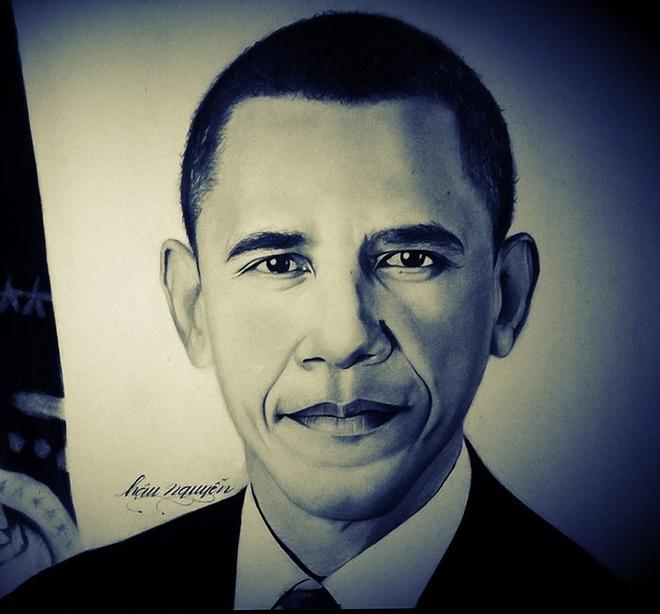 Tranh chan dung ong Obama xuat hien khap dien dan mang hinh anh 6