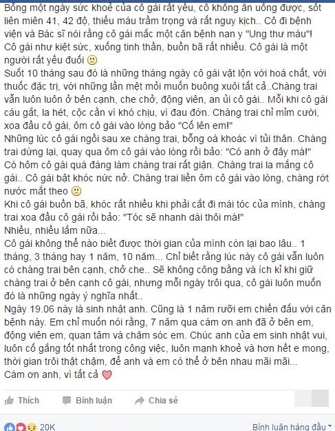 Chuyen tinh 7 nam khong roi cua co gai bi ung thu mau hinh anh 1