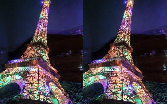 9X An Giang lam thap Eiffel phat sang tu 70.000 que tam tre hinh anh