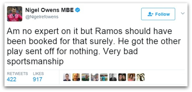 Binh luan vien buc xuc voi 'man an va dang khinh' cua Sergio Ramos hinh anh 4