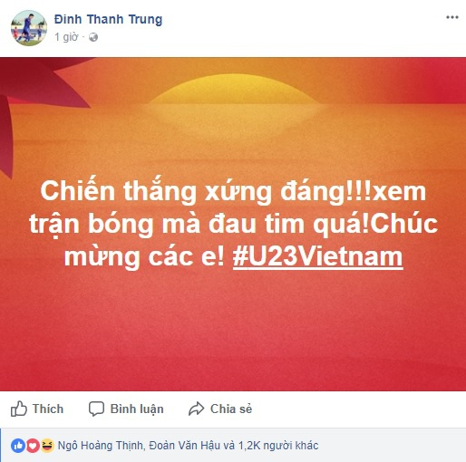 Cong Vinh, Thanh Trung tu hao voi chien cong cua U23 Viet Nam hinh anh 1