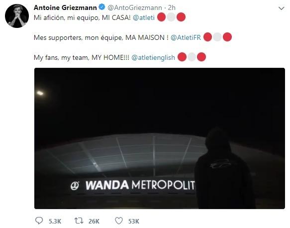 Dap tan tin don toi Barca, Griezmann chinh thuc o lai Atletico hinh anh 1