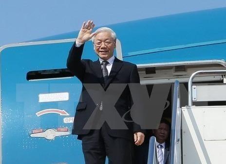 Tong bi thu Nguyen Phu Trong len duong tham Nga hinh anh