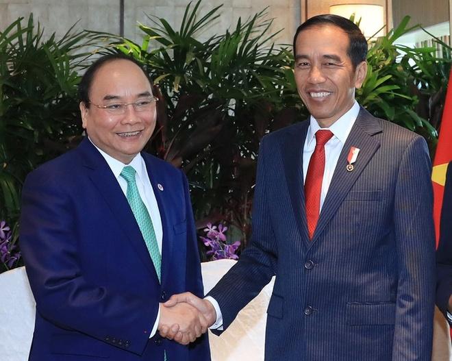 Thu tuong Nguyen Xuan Phuc tiep Tong thong Indonesia Joko Widodo hinh anh 1