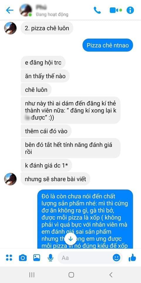Lo tin nhan admin nhom review do an dung canh boi xau nha hang hinh anh 1