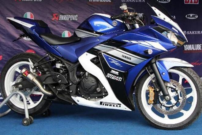 Yamaha R25 voi ong xa xe dua ra mat o Indonesia hinh anh