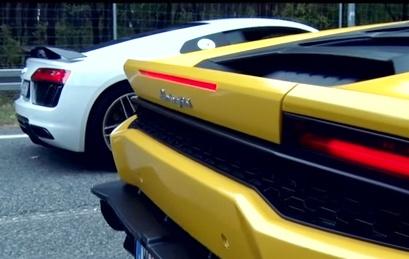 Audi R8 V10 dua duong thang cung Lamborghini Huracan hinh anh