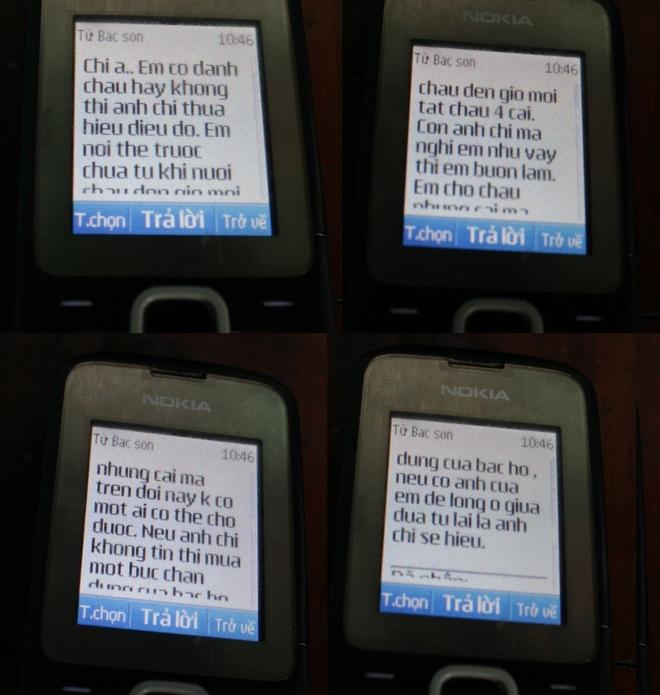 Nghi pham hanh ha be trai tung xin nhan chau lam con nuoi hinh anh 1 Một đoạn tin nhắn mà Sơn gửi cho chị Giang.