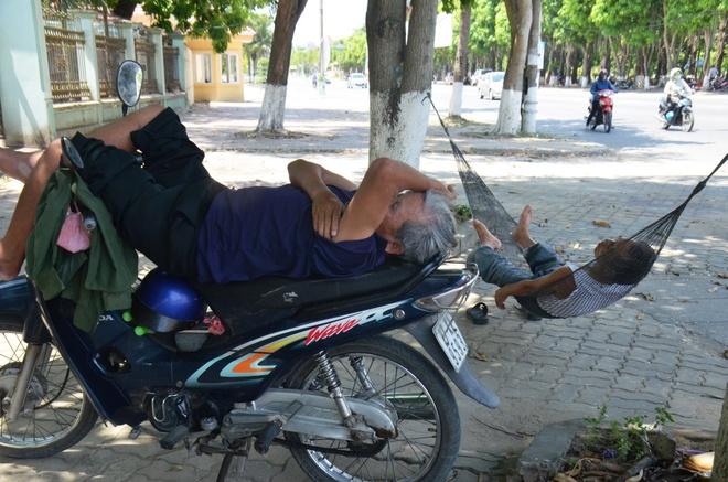 Chao lua mien Trung trong cai nong 40 do C hinh anh 3 Người xe ôm và anh cửu vạn tạm nghỉ trưa dưới bóng mát ở công viên Nguyễn Tất Thành, TP Vinh, Nghệ An.