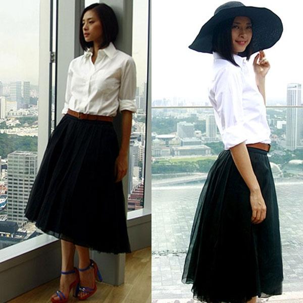 Kết quả hình ảnh cho áo sơ mi trắng Kết hợp với chân váy