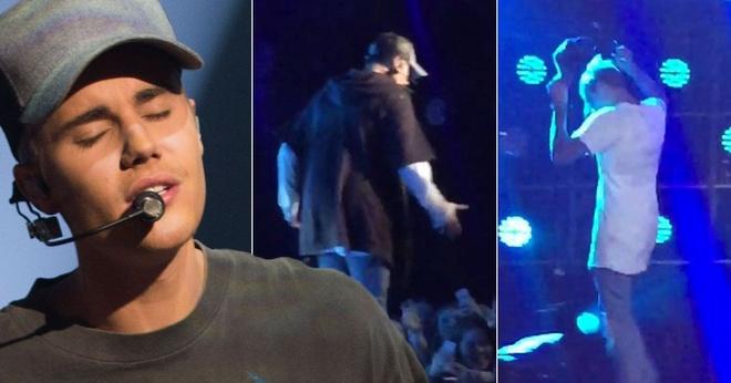 Justin Bieber xin loi fan sau khi noi nong tren san khau hinh anh