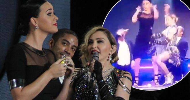 Katy Perry sung suong khi duoc song ca cung Madonna hinh anh