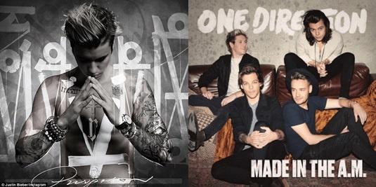 Album cua 1D va Justin Bieber bi phat tan tren mang hinh anh