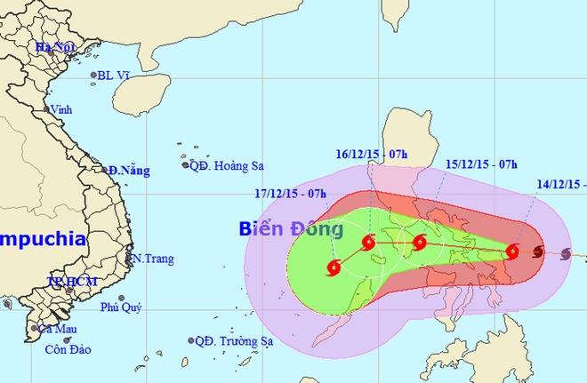 Con bao co suc gio 180 km/h huong vao Bien Dong hinh anh 2 Dự kiến đường đi bão Melor. Ảnh: NCHMF.
