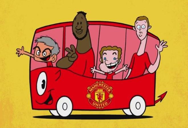 Hi hoa Mourinho lai xe buyt mau do cho 3 cuu sao Chelsea hinh anh