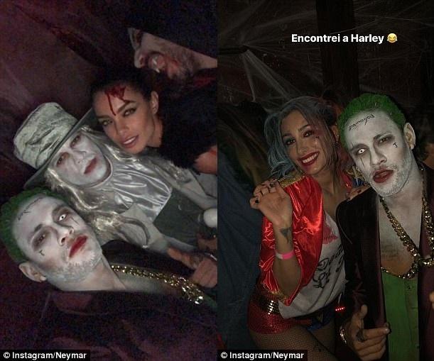 Neymar hoa trang thanh ac nhan Joker mung Halloween hinh anh 6