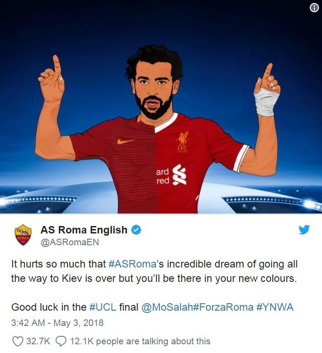 Roma gui thong diep cam dong den Salah sau loat tran ban ket hinh anh 1