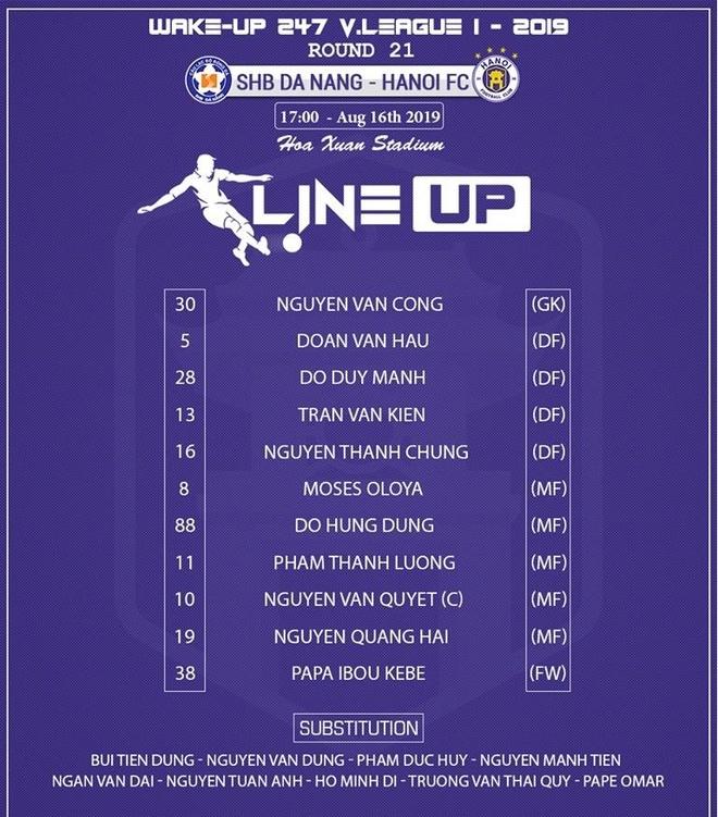 CLB Đà Nẵng vs CLB Hà Nội: Quang Hải, Văn Quyết đá chính