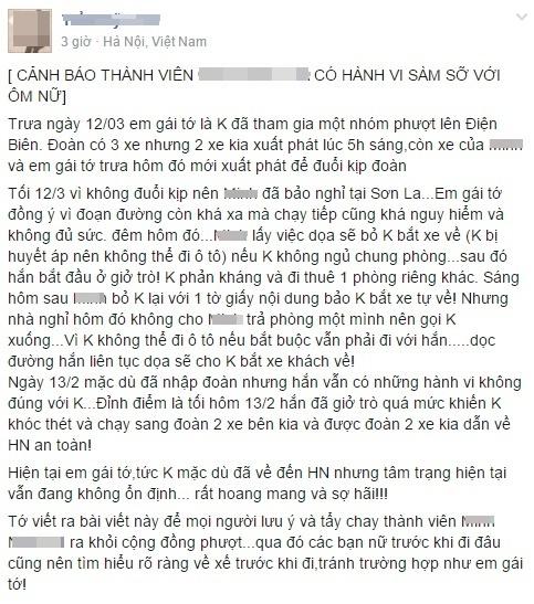 Nu phuot thu to bi sam so doi chat voi ban dong hanh hinh anh 1