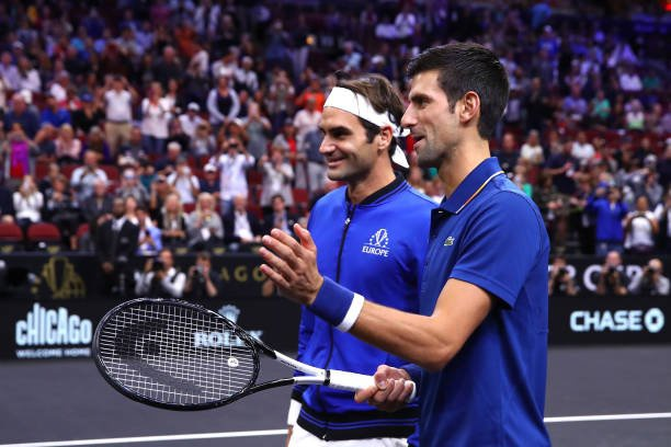 Federer va Djokovic thua nguoc trong lan dau thi dau danh doi hinh anh