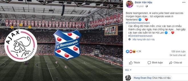 Van Hau gui loi chuc Heerenveen dau Ajax bang tieng Ha Lan hinh anh 1