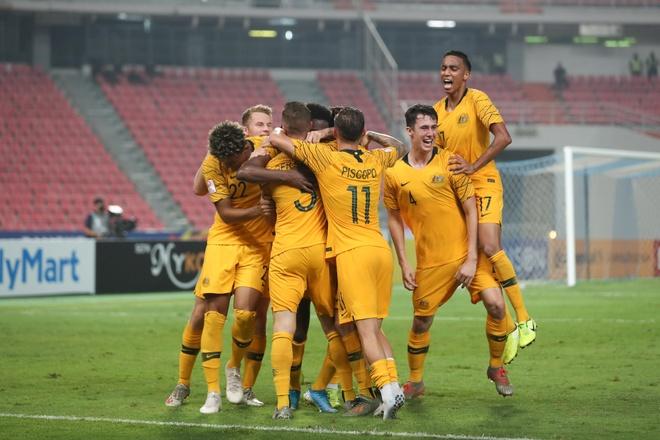 U23 Australia ăn mừng bàn thắng ở hiệp phụ thứ nhất. Ảnh: AFC.