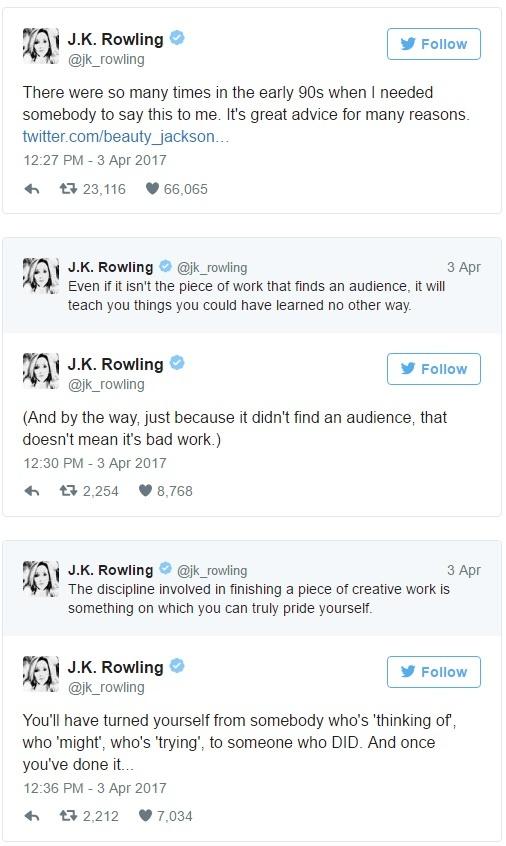 Tac gia 'Harry Potter' dong vien cay viet tre tren mang xa hoi hinh anh 2