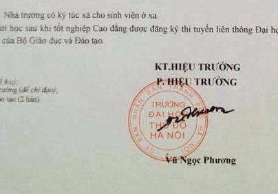 Lanh dao DH Thu Do len tieng ve cong van tuyen sinh gia mao hinh anh