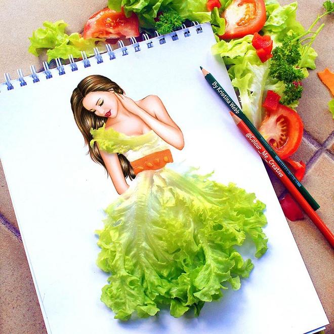 Nu hoa si 19 tuoi ve tranh bang my ong, salad hinh anh 2