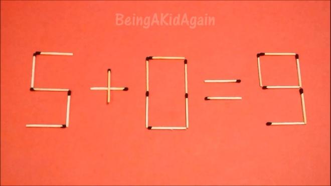 Dap an bai toan di chuyen que diem, bien sai thanh dung hinh anh 5 5 + 0 = 9 thành 9 - 0 = 9.