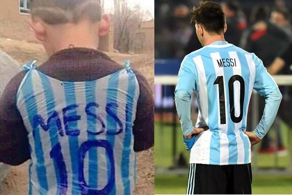 Dan mang tim kiem cau be tu che ao giong Messi tu rac hinh anh