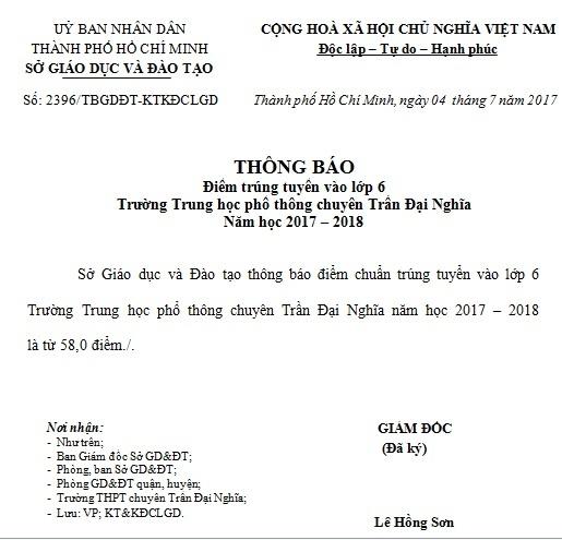 Diem chuan vao lop 6 truong chuyen Tran Dai Nghia TP.HCM hinh anh 1