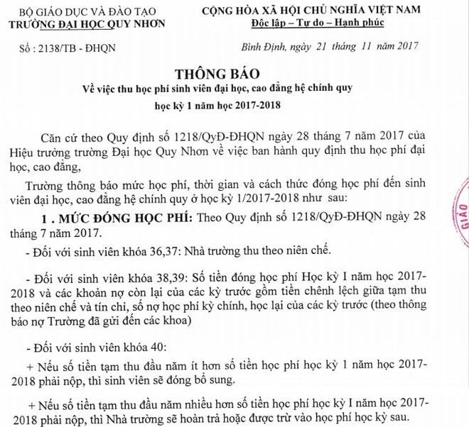 Nhieu sinh vien Dai hoc Quy Nhon no hoc phi vi truong thu theo tin chi hinh anh 1