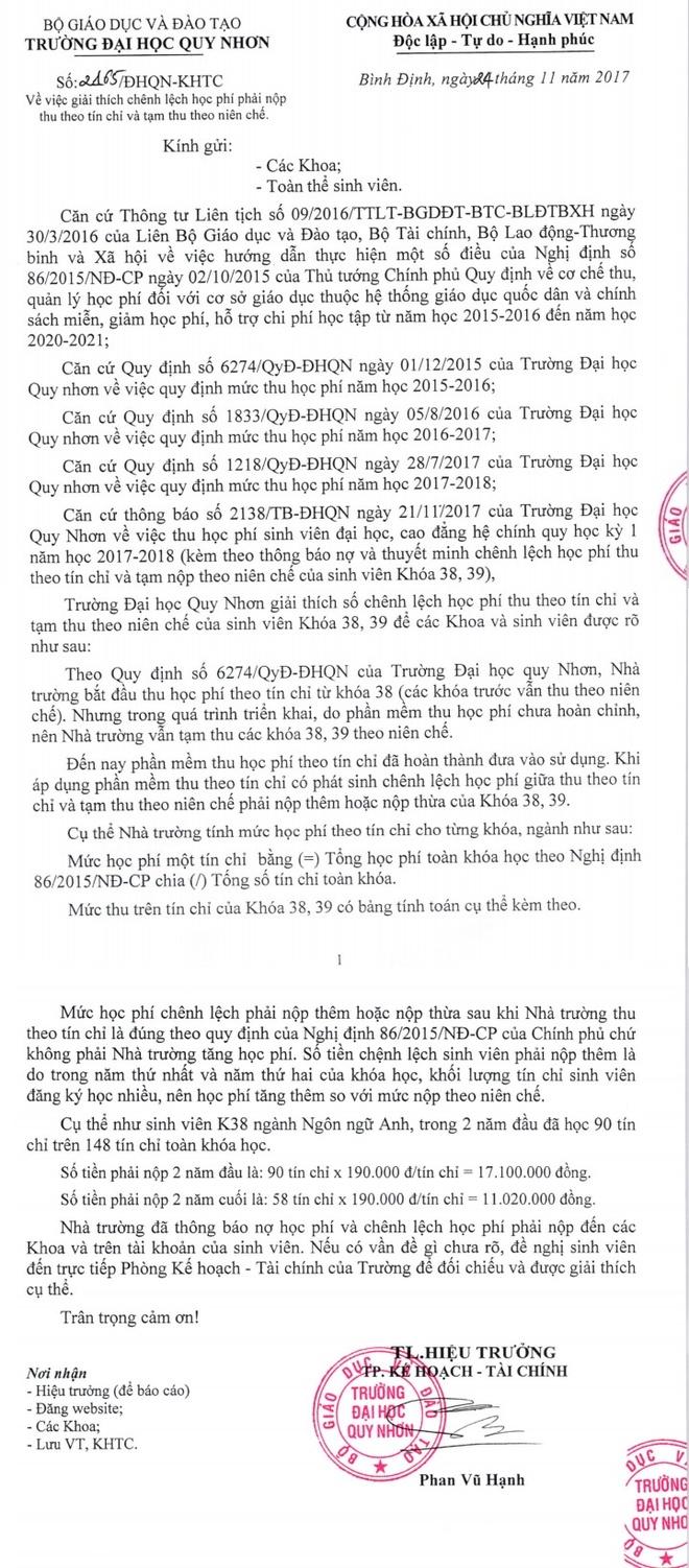 Nhieu sinh vien Dai hoc Quy Nhon no hoc phi vi truong thu theo tin chi hinh anh 2