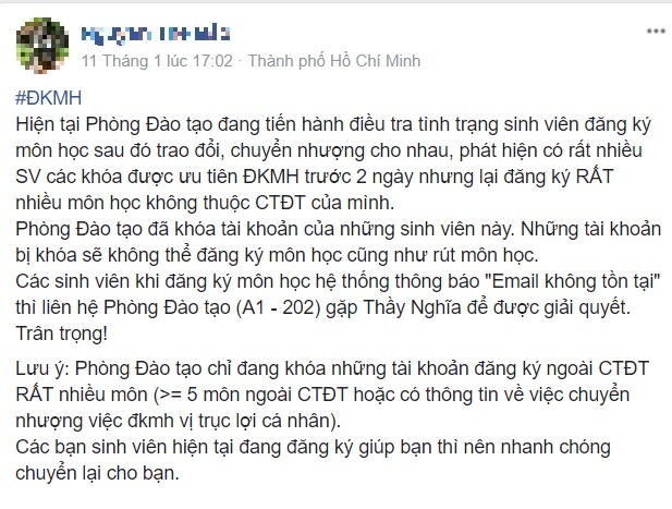 DH Su pham Ky thuat TP.HCM phat hien nhieu sinh vien mua ban tin chi hinh anh 1