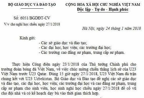 Gia mao van ban cua Bo GD&DT cho hoc sinh nghi de xem bong da hinh anh