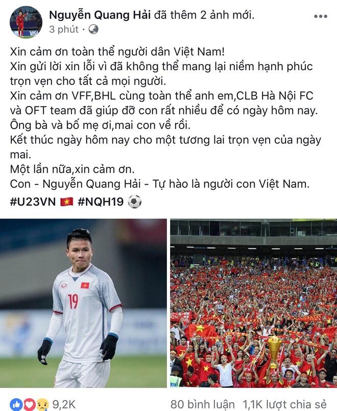 Cau thu U23 Viet Nam xin loi nguoi ham mo tren Facebook hinh anh 2