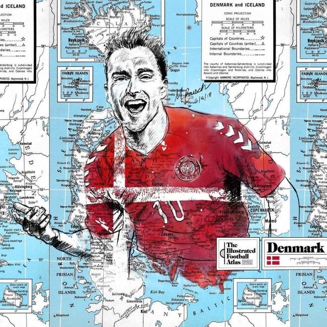 Hình ảnh Christian Eriksen với nụ cười sảng khoái. Với phong độ thi đấu  xuất sắc, anh là ngôi sao sáng nhất trong đội hình của đội tuyển Đan Mạch.