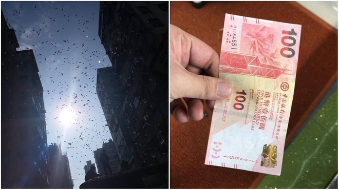 Mưa tiền như phim ở Hong Kong khiến đám đông phát cuồng
