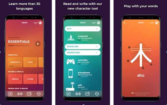 Drops giành danh hiệu ứng dụng tốt nhất trong năm 2018. Ứng dụng này giúp người dùng học được 31 ngôn ngữ khác nhau với từ vựng đa dạng, giao diện hiện đại và dễ thao tác. Ảnh: Monnycontrol.