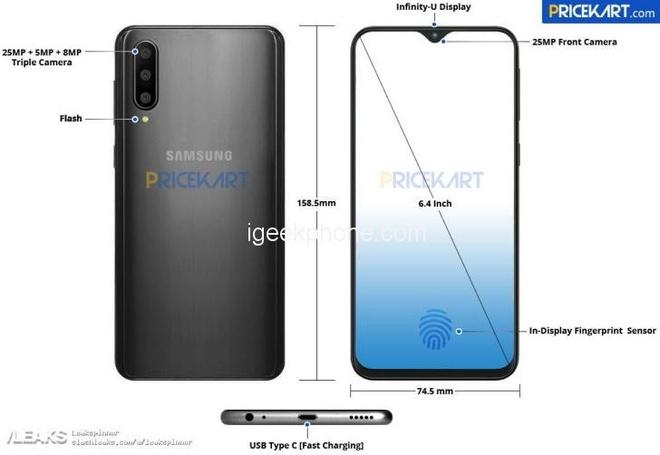 Galaxy A50 lo dien: 3 camera sau, cam bien van tay duoi kinh hinh anh 1