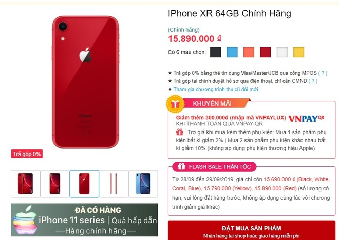 iPhone XR chinh hang giam gia manh sau 1 tuan iPhone 11 ve VN hinh anh 1