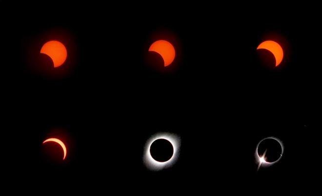 Ảnh chụp các giai đoạn của nhật thực, từ một phần cho đến khi đạt đỉnh thành hình khuyên. Ảnh: Iván Castro.