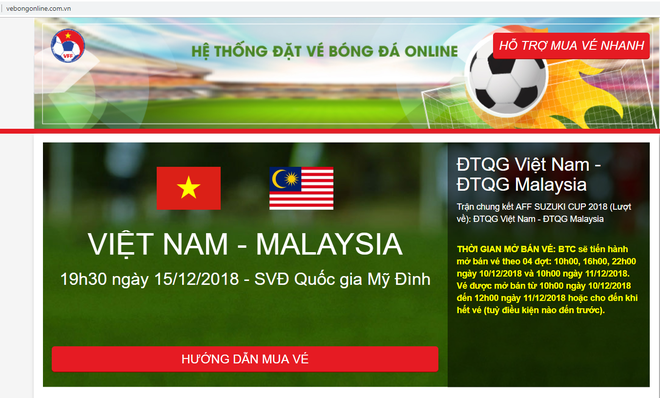 Ban to chuc canh bao gia mao trang dat ve online xem chung ket AFF Cup hinh anh 1